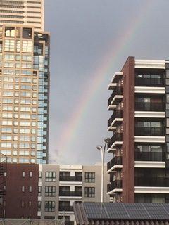坂から見た虹